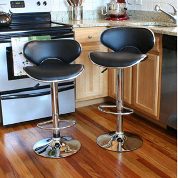 This AmeriHome 2 Piece Adjustable Height Bar Stool Set includes two retro style adjustable height black vinyl bar stools This 2 piece bar stool set