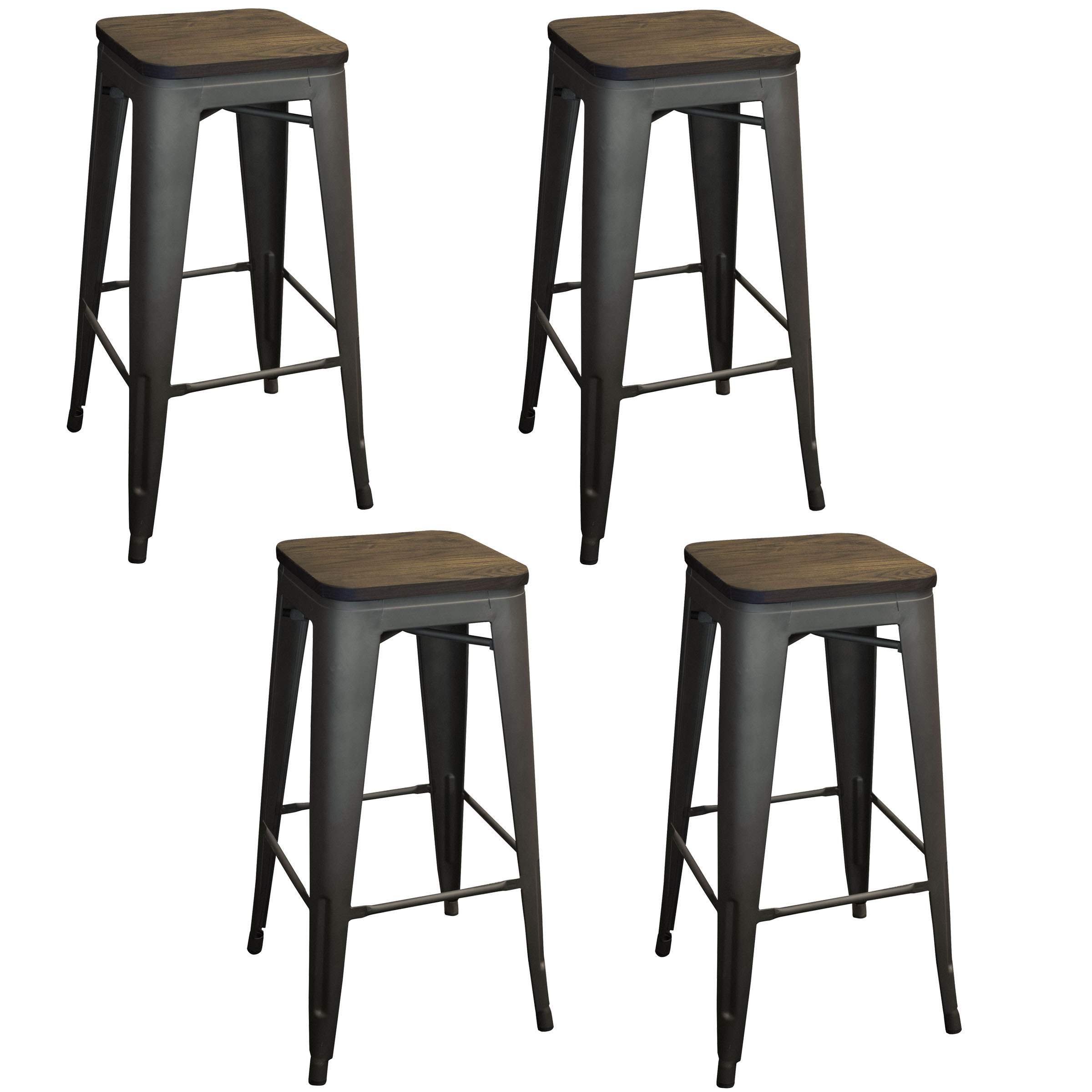 Cool Details About Amerihome 30Inch Loft Rustic Gunmetal Metal Bar Stool With Wood Seat 4 Piece Theyellowbook Wood Chair Design Ideas Theyellowbookinfo