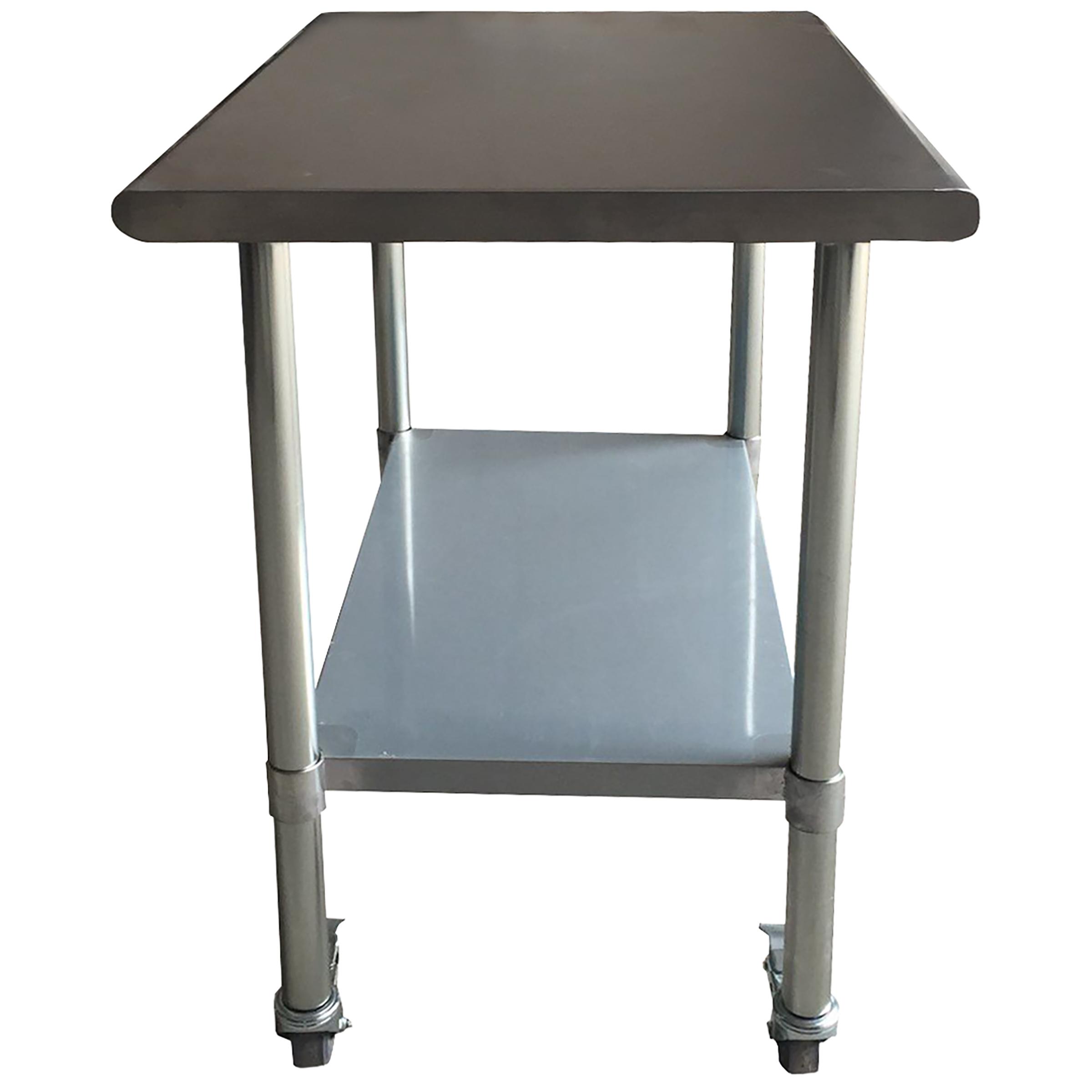 Sportsman Series Stainless Steel Work Table With Casters X - 24 x 48 stainless steel work table